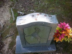 Coins on the headstone