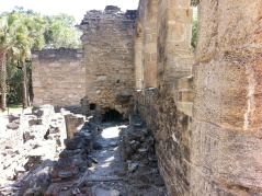 Coquina blocks used to construct walls at New Smyrna Sugar Mill Ruins