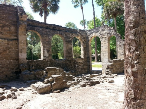 Charred walls and arches at New Smyrna Sugar Mill Ruins
